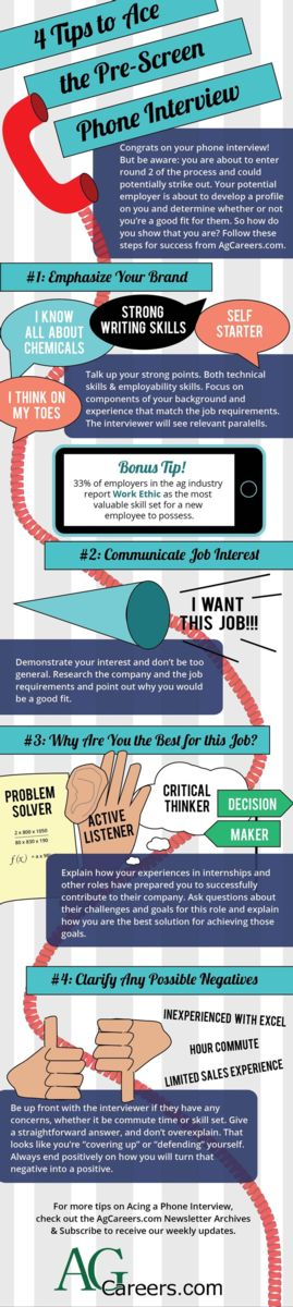 "Infographic - Title: 4 Tips to Ace the Pre-Screen Phone Interview. Sub-title: Congrats on your phone interview!  But be aware:  you are about to enter round 2 of the process and could potentially strike out.  Your potential employer is about to develop a profile on you and determine whether or not you're a good fit for them.  So how do you show that you are?  Follow these steps for success from AgCareers.com. Image Text:  #1:  Emphasize your brand.  I know all about chemicals.  Strong writing skills.  Self-Starter.  I think on my toes.  Talk up your strong points.  Both technical skills & employability skills.  Focus on components of your background and experience that match the job requirements.  The interviewer will see relevant parallels.  Bonus Tip:  33% of employers in the ag industry report work ethic as the most valuable skill set for a new employee to possess.  #2:  Communicate job interest.  I want this job!!!  Demonstrate your interest and don't be too general.  Research the company and the job requirement and point out why you would be a good fit.  #3:  Why are you the best for this job?  Problem solver. Active listener. Critical thinker. Decision maker.  Explain how your experiences in internships and other roles have prepared you to successfully contribute to their company.  Ask questions about their challenges and goals for this role and explain how you are the best solution for achieving those goals.  #4:  Clarify any possible negatives.  Inexperience with Excel.  Hour commute.  Limited sales experience.  Be up front with the interviewer if they have any concerns, were it be commute time or skill set.  Give a straightforward answer, and don't over explain.  That looks like you're ""covering up"" or ""defending"" yourself.  Always end positively on how you will turn that negative into a positive.  For more tips on acing a phone interview, check out the AgCareers.com Newsletter archives and subscribe to receive our weekly updates.    www.AgCareers.com"