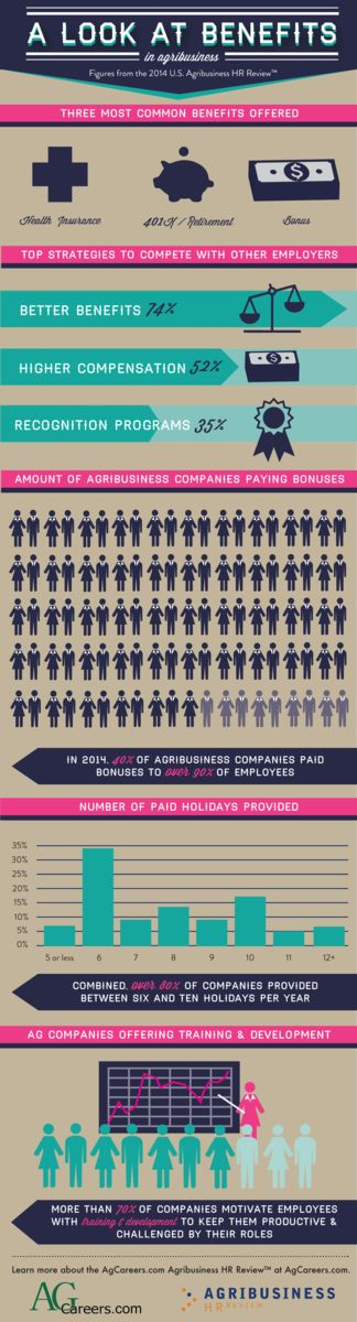 Infographic- Title:  A look at Benefits in Agribusiness.  Sub-title:  Figures from the 2014 U.S. Agribusiness HR Review.  Image Text:  Three most common benefits offered:  health insurance, 401k/Retirement, Bonus.  Top strategies to compete with other employers:  better benefits 74%, higher compensation 52%, recognition programs 35%.  Amount of agribusiness companies paying bonuses; in 2014, 40% of agribusiness companies paid bonuses to over 90% of employees.  Number of paid holidays provided; combined, over 80% of companies provided between size and ten holidays per year.  Ag companies offering training & development; more than 70% of companies motivate employees with training and development to keep them productive and challenged by their roles.  Learn more about the AgCareers.com Agribusiness HR Review at AgCareers.com.
